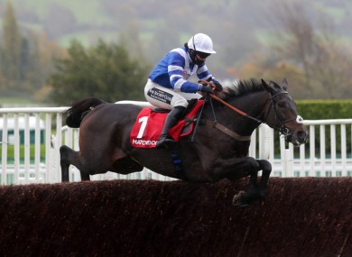 Frodon clears the last before going on to win the Matchbook Betting Exchange Handicap Chase at Cheltenham.