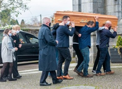 The coffin of Mark O'Sullivan is carried into the Church of the Immaculate Conception, Kanturk.