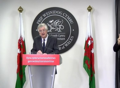 First Minister Mark Drakeford speaking at a press conference today