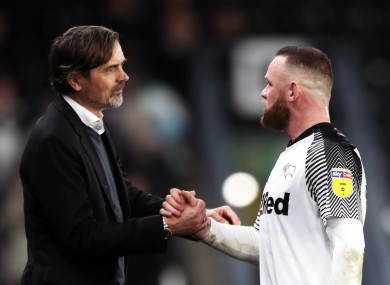 Phillip Cocu's job isn't under imminent threat from Wayne Rooney, says Derby County owner Mel Morris.