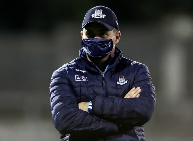 Dublin manager Dessie Farrell during the warm-up.