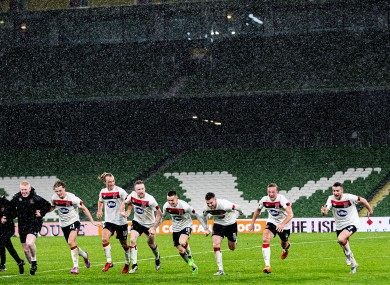 The Dundalk players celebrate qualification at the Aviva Stadium.
