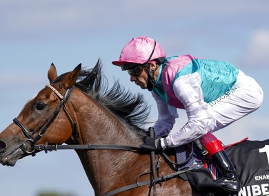 Enable, ridden by Frankie Dettori, on the way