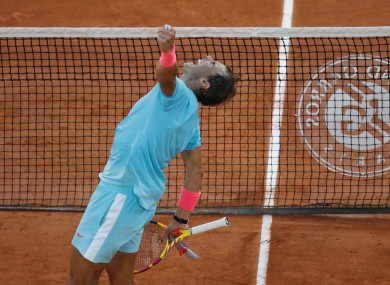 Rafael Nadal punches the air after his victory.