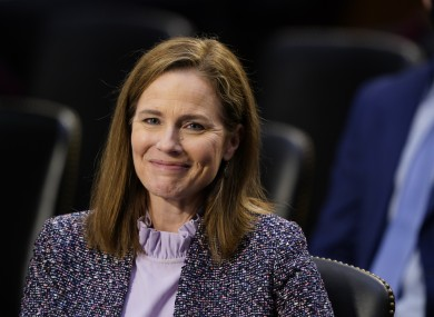 Amy Coney Barrett speaks during a confirmation hearing before the Senate Judiciary Committee