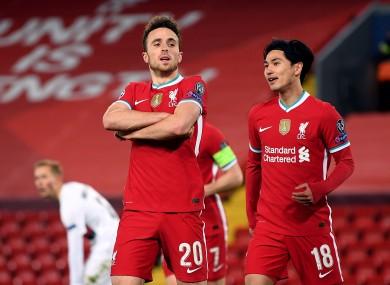 Liverpool's Diogo Jota celebrates scoring.