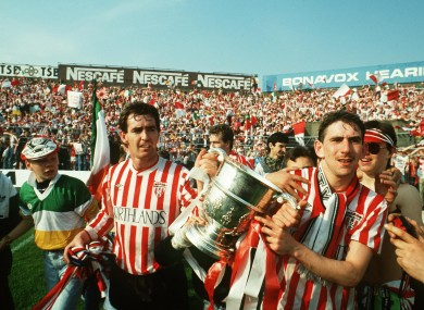 Noel Larkin and Paul Carlyle of Derry City with the cup.