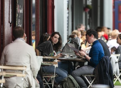 File photo. People outside restaurants in Dublin city centre.
