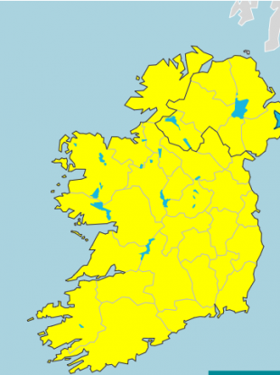 Today's forecast - yellow indicates the rainfall warning