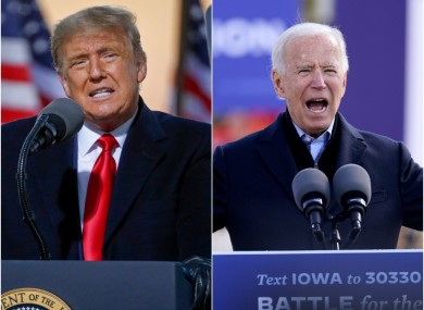 Donald Trump and Joe Biden on the campaign trial yesterday