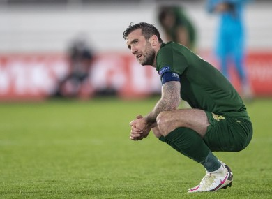 Shane Duffy after defeat to Finland.