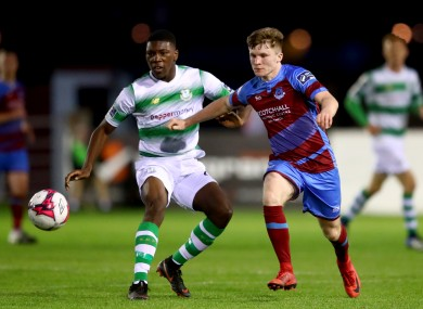 Sinclair Armstrong (left) made his Shamrock Rovers debut against Drogheda United in the FAI Cup in 2018.