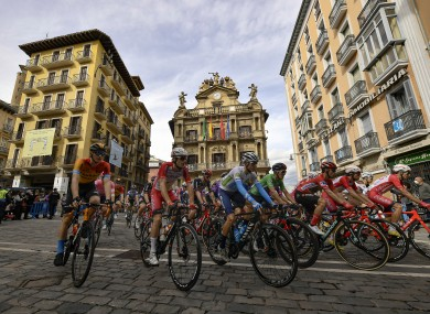 The pack pass the City Hall at Plaza del Ayuntamiento square in Pamplona.