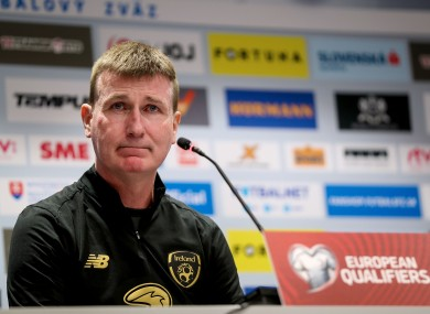 Republic of Ireland manager Stephen Kenny pictured during this evening's pre-match press conference in Bratislava.
