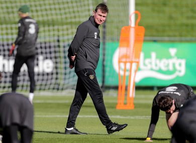 Stephen Kenny at Irish training ahead of the clash with Wales.