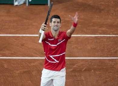 Novak Djokovic after his semi-final victory.