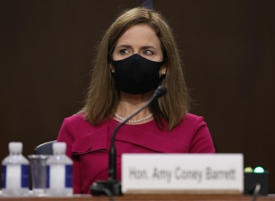 Amy Coney Barrett in the first Senate hearing yesterday.