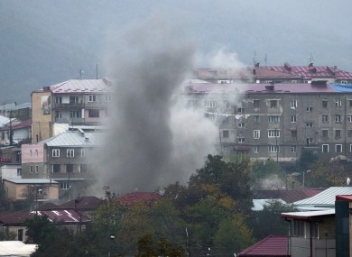 Smoke rises after shelling by Azerbaijan's artillery during a military conflict in Stepanakert last week.