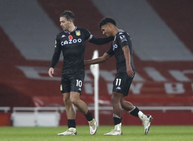 Aston Villa's Ollie Watkins (right) embraces Jack Grealish.