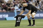 New Zealand captain Sam Cane lays All Black number 10 jersey on the pitch in memory of Diego Maradona.