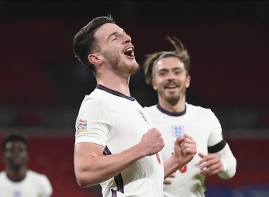 Declan Rice is congratulated by Jack Grealish after scoring in England's win against Iceland.