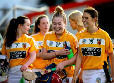 Antrim players celebrate after their win over Laois.