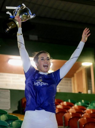 Cavan camogie captain Erinn Galligan lifting the Nancy Murray Cup last weekend.