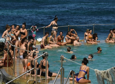 People cool off at Bronte Beach in Sydney