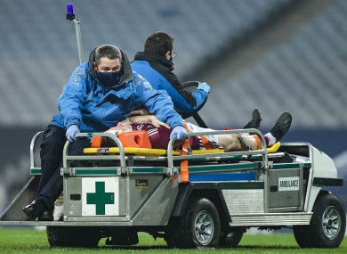 Joe Canning leaves the pitch in Croke Park.