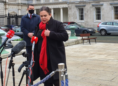 Mary Lou McDonald outside Leinster House today.