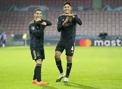 Ajax's Antony Matheus (L) and Edson Alvarez.