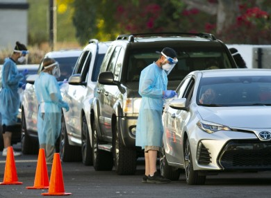 People line up in their vehicles to get tested for Covid-19 in Scottsdale, Arizona