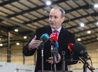 Taoiseach Micheál Martin in a large terminal in Dublin Port today.