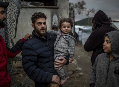 Refugees in a camp on the Greek island of Samos.