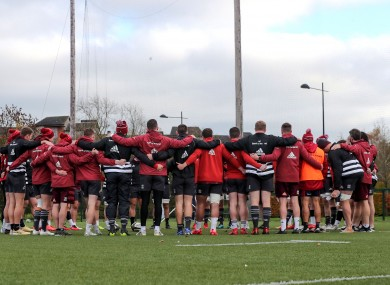 The Munster squad in a huddle during a training session.