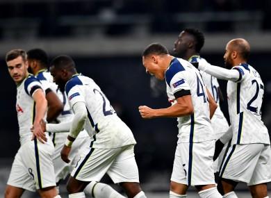 Tottenham Hotspur's Carlos Vinicius (second right) celebrates.