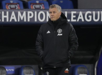 Manchester United manager Ole Gunnar Solskjaer pictured during his side's defeat to Istanbul Basaksehir.