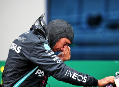Lewis Hamilton reacts to victory.