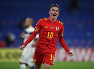Harry Wilson celebrates after his goal.