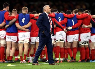 Wales head coach Wayne Pivac and his team earlier this year.