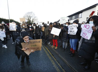 Protesters outside Blanchardstown Garda Station today.