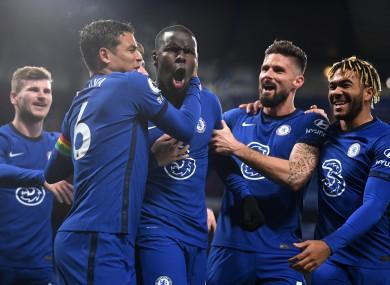 Chelsea's Kurt Zouma (centre) celebrates scoring.