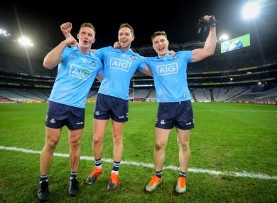 Dublin's Ciarán Kilkenny, Dean Rock and John Small celebrate after the All-Ireland final.