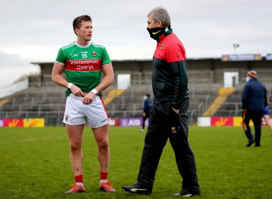 Cillian O'Connor with manager James Horan after the Connacht semi-final.