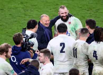 Eddie Jones with Joe Marler after the Autumn Nations Cup final.