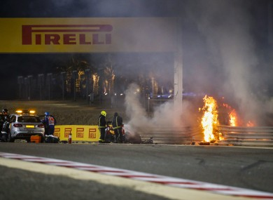 The scene of Romain Grosjean's crash.