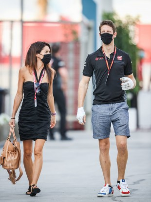 Romain Grosjean pictured with his wife, Marion Jolles, the French TV journalist.