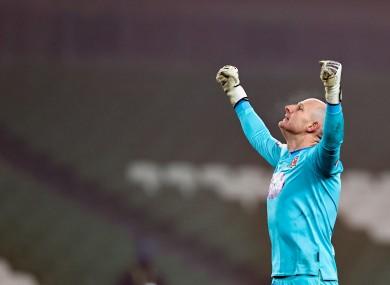 Dundalk goalkeeper Gary Rogers celebrates during last weekend's FAI Cup final.