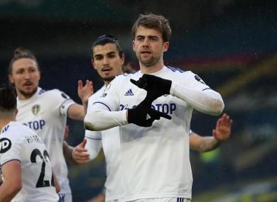 Leeds United's Patrick Bamford celebrates scoring.