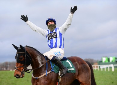 Paul Townend riding Castlebawn West after winning the Paddy Power Steeplechase at Leopardstown.